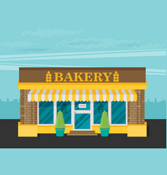 Facade of bakery flat vector