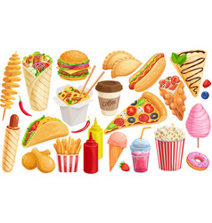 fast food outline drawn icon vector image