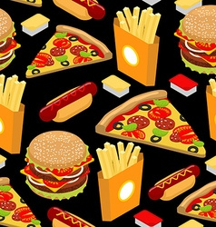 Fast food pattern Hamburger and french fries on vector image