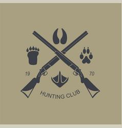Firearm logo template guns rifles badge flat vector