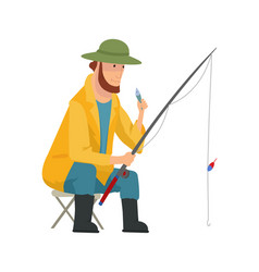 fisherman flat icons fishing people with fish and vector image