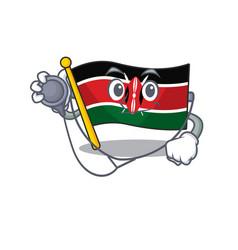 Flag kenya doctor cartoon with character happy vector