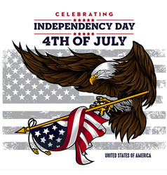 Flat background with eagle blue for usa vector