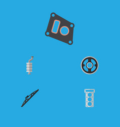 flat icon parts set of gasket packing belt and vector image
