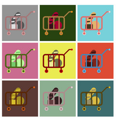 Flat icons set shop cart vector