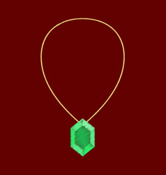 Flat shading style icon necklace with precious vector