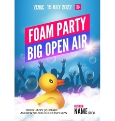 Foam Party summer Open Air Foam party poster or vector