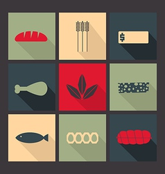 Food set of bright icons in flat style vector