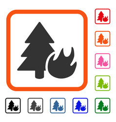 forest fire framed icon vector image
