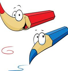 funny colored pencils cartoon vector image