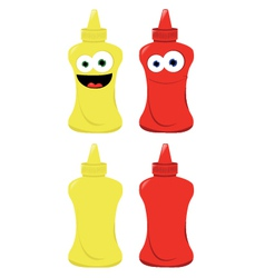 Funny Mustard and Ketchup vector image