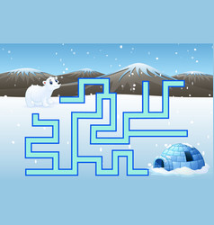 game polar bears maze find their way to the iglo vector image