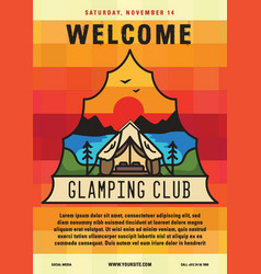 glamping club flyer a4 format camping adventure vector image