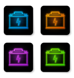 glowing neon car battery icon isolated on white vector image