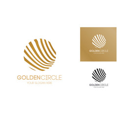 golden circle logo abstract line style vector image