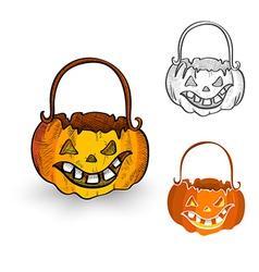 Halloween monsters isolated spooky pumpkin vector image