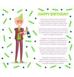 Happy birthday greetings man in suit festive cap vector