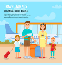 happy family with children travelling with luggage vector image