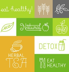 healthy and fresh farm products labels vector image