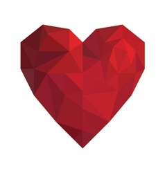 Heart in low poly triangle style for Valentine Day vector image