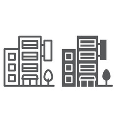hotel building line and glyph icon travel and vector image