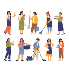 housewives character mother cooks housekeeper vector image
