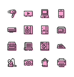 icons of household appliances are flat vector image