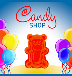 jelly candy shop concept background cartoon style vector image