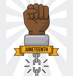Juneteenth day hand broken chain equality vector