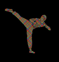 Kung fu karate kick designed using colorful pixel vector