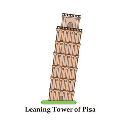 leaning tower of pisa graphical hand-painted vector image