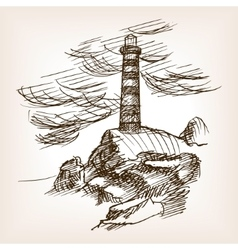 Lighthouse building hand drawn sketch style vector image