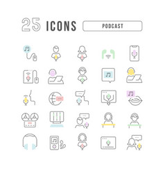 line icons podcast vector image
