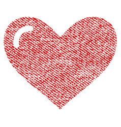 Love heart fabric textured icon vector