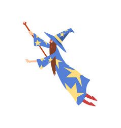 Male sorcerer conjuring bearded wizard character vector