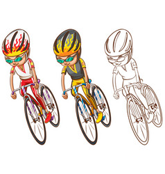 Man riding bicycle in three sketches vector
