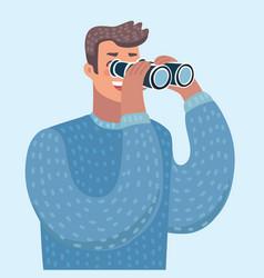 Man with binoculars flat cartoon vector