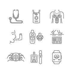 medical devices linear icons set vector image
