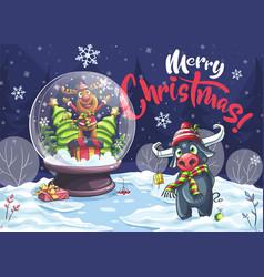 Merry christmas cartoon deer bull in night vector