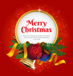 merry christmas greeting card or banner with vector image