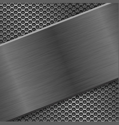 Metal brushed texture with perforated background vector