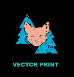 modern print with the fox in woods vector image