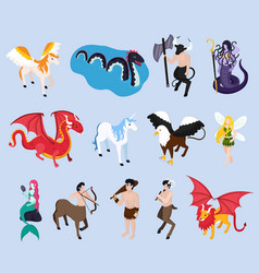 Mythical creatures isometric icons vector