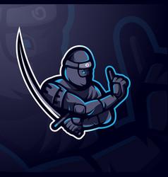 ninja with sword vector image