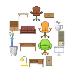 office furniture interior icons set cartoon style vector image
