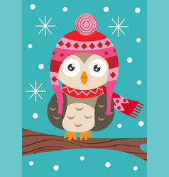 owl on branch in the winter vector image