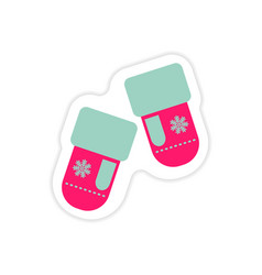 Paper sticker on white background mittens vector