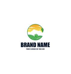 Plant logo design river and sunshine vector
