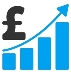 Pound Sales Growth Chart Flat Icon Symbol vector