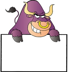 Purple Bull And Blank Sign vector image